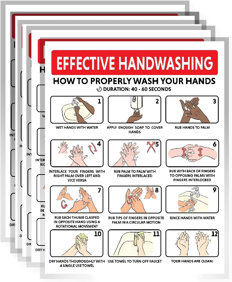 Hand Washing Poster Sign, How to Wash Your Hand Card, Hygiene, Sanitation, Covid Safety Poster | Great Use for Home, School, Offices and Public Spaces, | 8.5 x 11 Inches | 5 per Pack (Laminated)