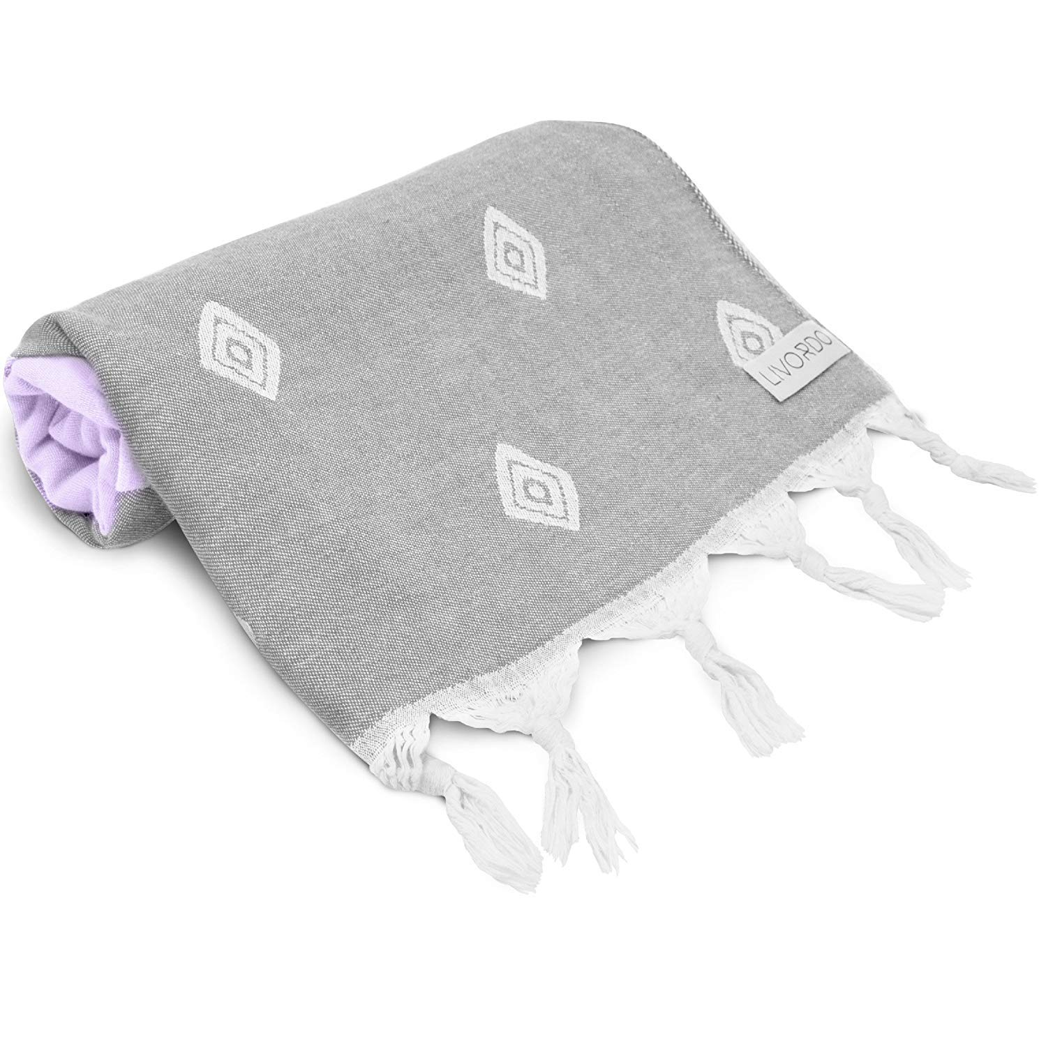 Livordo Beach Turkish Towel Absorbent 100% Soft Cotton Made in Turkey Quick Dry Bath, Sauna, Hamam (Bursand - Lilac/Gray, Large)
