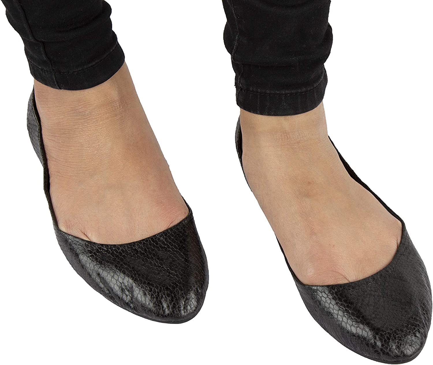 Wedding Mates roll up After Party Shoes Snake Skin Effect Black