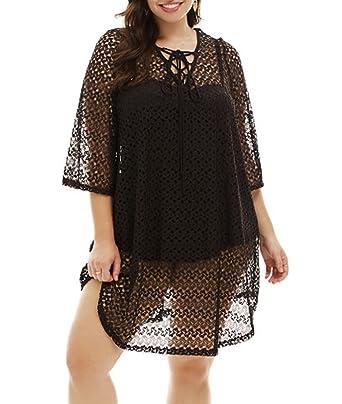ccd8157341570 Lalagen Women Plus Size Summer Crochet Cover Up Swimwear Beach Wear Swimsuit  at Amazon Women's Clothing store: