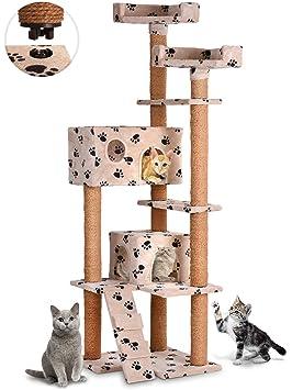 Leopet - Árbol rascador para gatos con cuevas, plataformas y escalera - altura aprox. 166 cm - color beis con pisadas: Amazon.es: Hogar