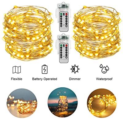 AllezDuck Fairy Lights, 66Ft 200LED Battery Operated Sliver Wire String Lights Waterproof 8 Modes LED Lighting String with Remote Control for Christmas Wedding Party Home Decoration, Warm White : Garden & Outdoor