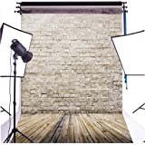 DULUDA 5X7FT Rice White Brick Wall Wooden Floor Pictorial cloth Customized photography Backdrop Background studio prop GMTX04