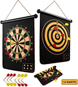 Magnetic Dart Board for Kids, Indoor Outdoor Dart Games with 12pcs Magnetic Darts, Rollup Double Sided