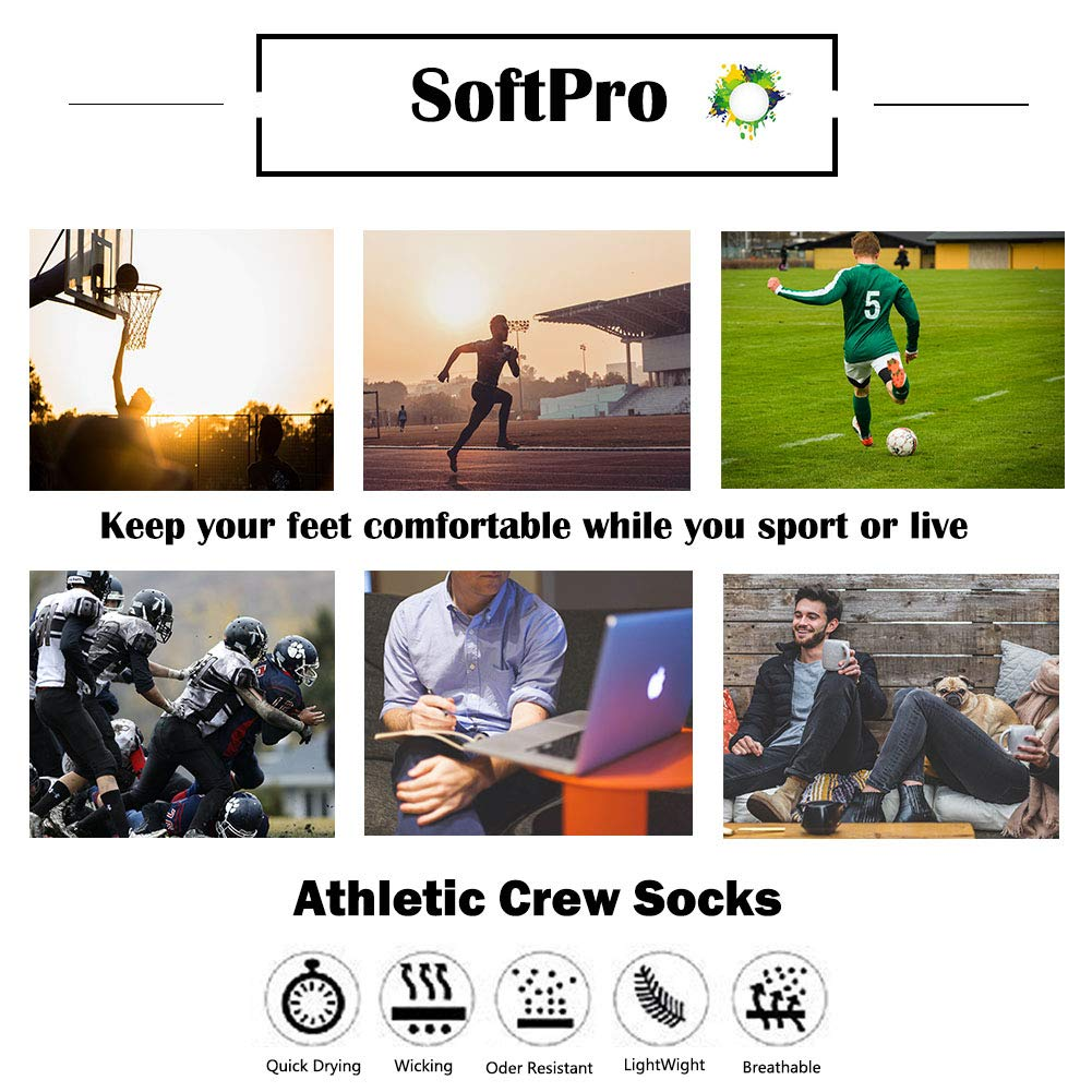 4 Pairs Mens Athletic Cotton Running Low Cut Ankle Socks,SoftPro Comfort Cushioned Sports Socks