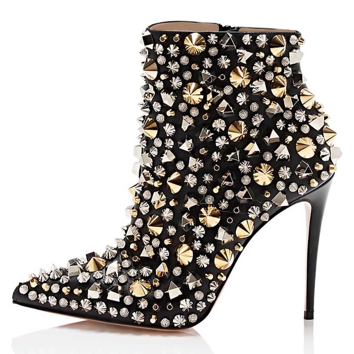 429d4d4e87a ... FSJ Women Fashion High Heel Ankle Boots Boots Boots with Rivets Pointed  Toe Stilettos Zipper Shoes ...