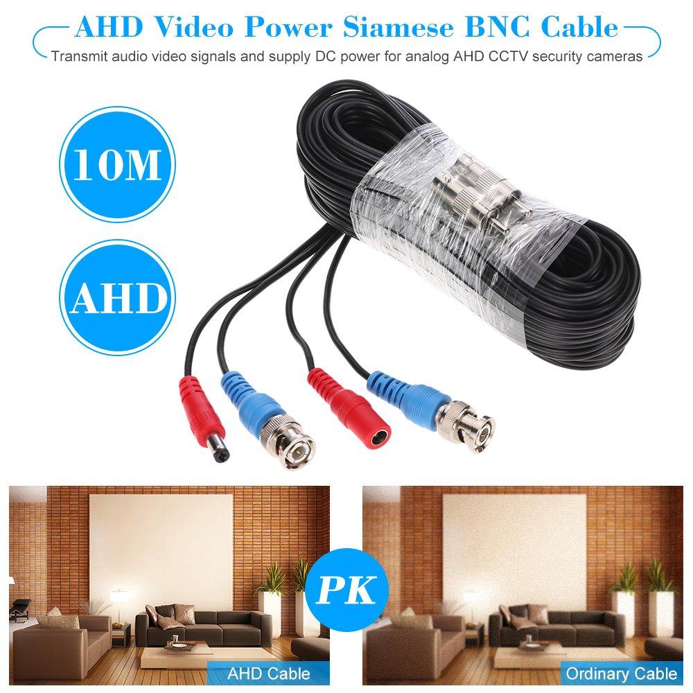 KKmoon 10m/32.8 pies Cable Siamés BNC Video Fuente de Alimentación para AHD Cámara de Vigilancia DVR Kit CCTV Sistema Seguridad Hogar: Amazon.es: Bricolaje ...