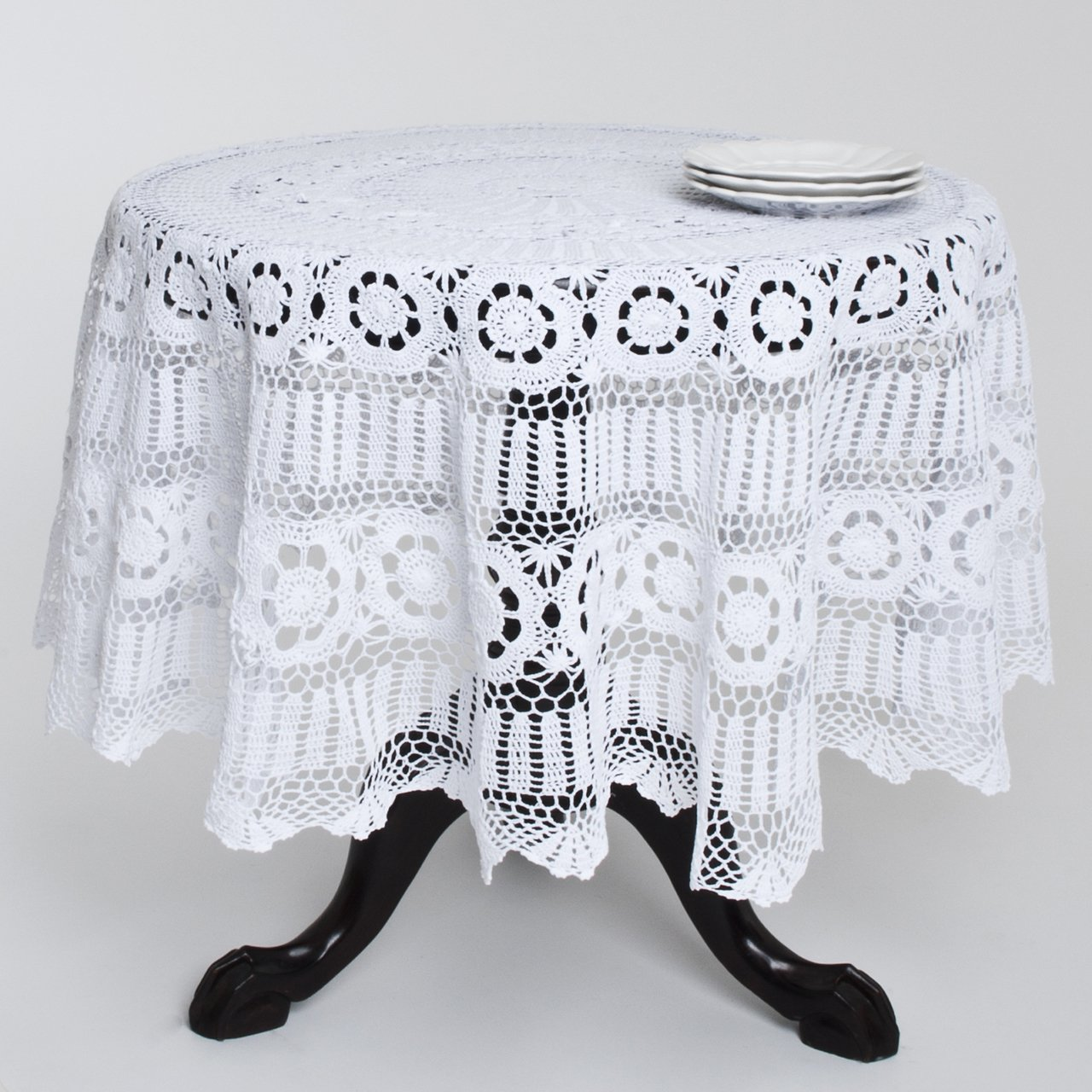 Christmas Tablescape Décor - Handmade cotton crochet lace round tablecloth also available in other table sizes