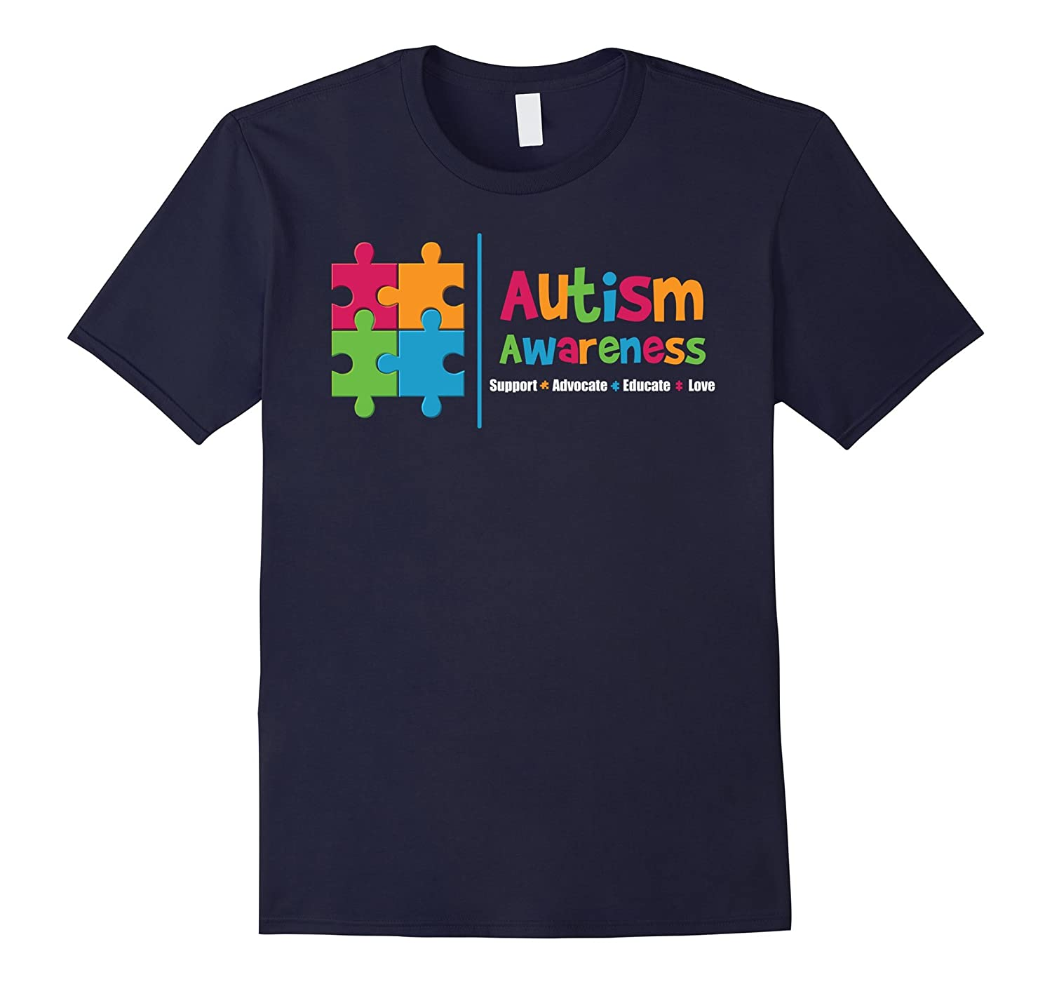 Autism Awareness Support Advocate Love Educate - T Shirt-BN