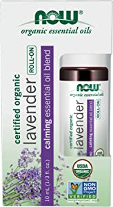 Now Foods Essential Oils, Lavender Roll-On, Certified Organic, Calming Blend, Steam Distilled, Topical Aromatherapy, 10-mL
