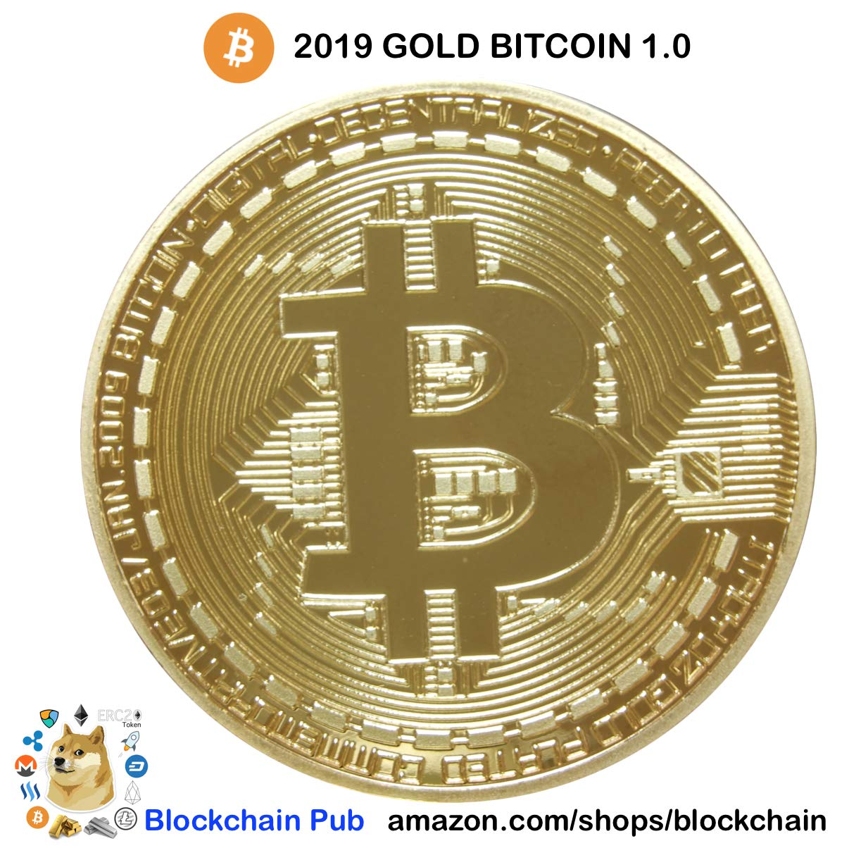 .999 Fine Gold Bitcoin Commemorative Round Collectors Coin - Bit Coin is Gold Plated Copper Physical Coin Karazan 8795630829