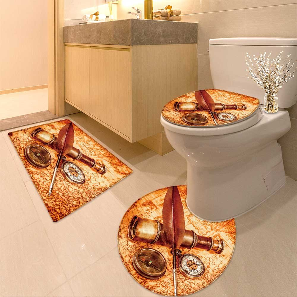 3 Piece Anti-slip mat set Vintage magnifying glass Non Slip Bathroom Rugs by NALAHOMEQQ