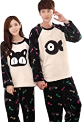 325e1f99e493 Km Couples Winter Flannel Pajamas Sets Cat and Fish Long Sleeve Fleece  Homewear