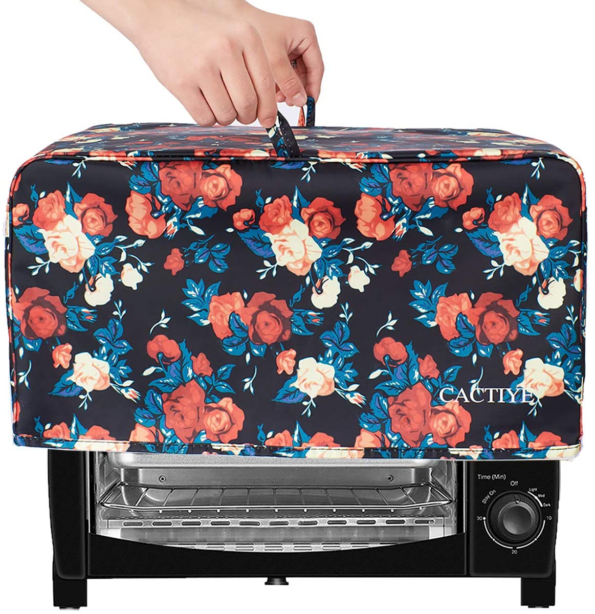 CACTIYE Toaster Oven Dust Cover with Accessory Pockets Compatible with Hamilton Beach 6 Slice of Toaster Oven (floral)