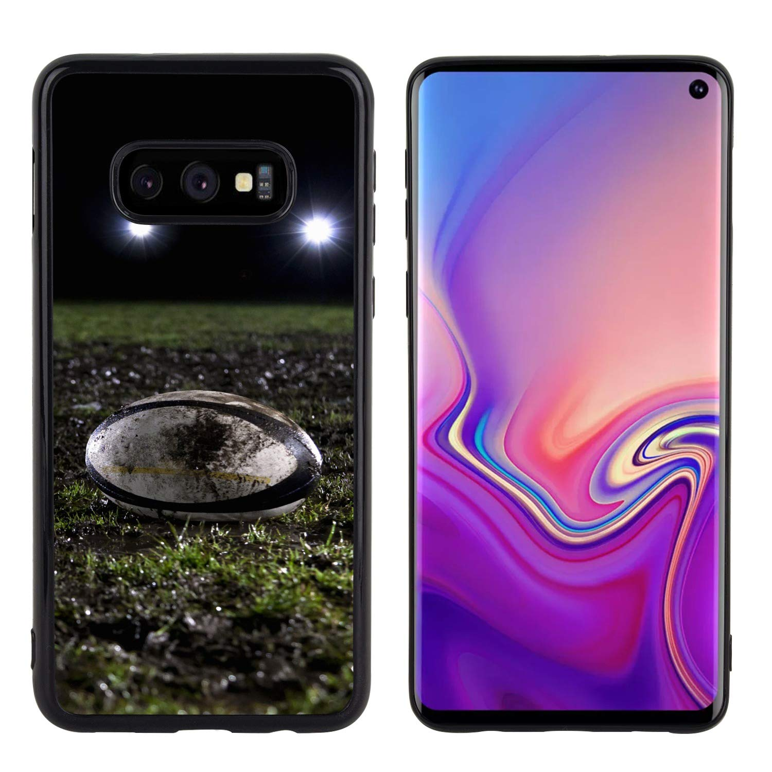Samsung Galaxy S10e Case Side Black Soft Rugby Football Anti-Scratch Drop Protective Cover Case