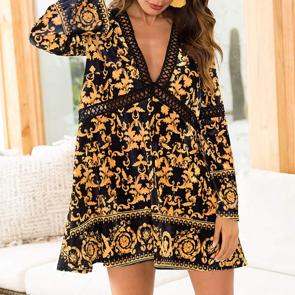 e99836dabb5516 Schleifmittel & Veredlungsprodukte serliy Frauen beiläufiges Damen Fashion  V-Ausschnitt Print aushöhlen täglich Langarm Party-Kleid ...