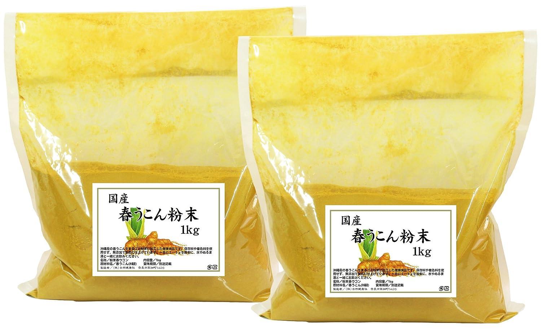 自然健康社 沖縄県産春うこん粉末 1kg×2個 密封袋入り B07DHDK1P1   1kg×2個