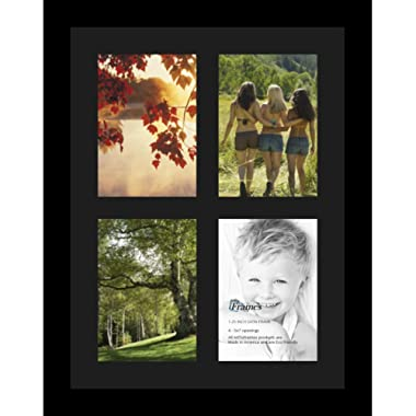 ArtToFrames Collage Photo Frame Single Mat with 4-5x7 Openings and Satin Black Frame.