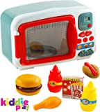Kiddie Play Pretend Play Electronic Toy Microwave for Kids with Food