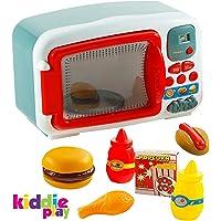 Kiddie Play Pretend Play - Microondas de Juguete electrónico para niños con Alimentos