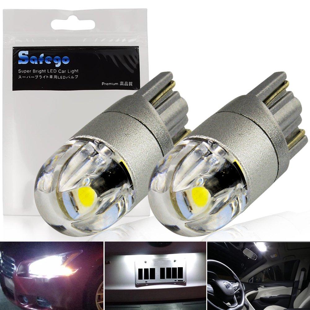 Safego 2x T10 501 W5W 2SMD 3030 Auto Lampe Blanc 6000K Exté rieur Feu de Jour 12V 168 194
