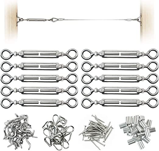 """Heavy Duty Stainless Steel for 1//8/"""" Steel Cable 130 pcs Ferrules Cable Railing Kit Thimbles Eye Straps with Eye-Eye Turnbuckles Swages Protector Sleeves Muzata1 CK01 ,Self Tapping Screws"""
