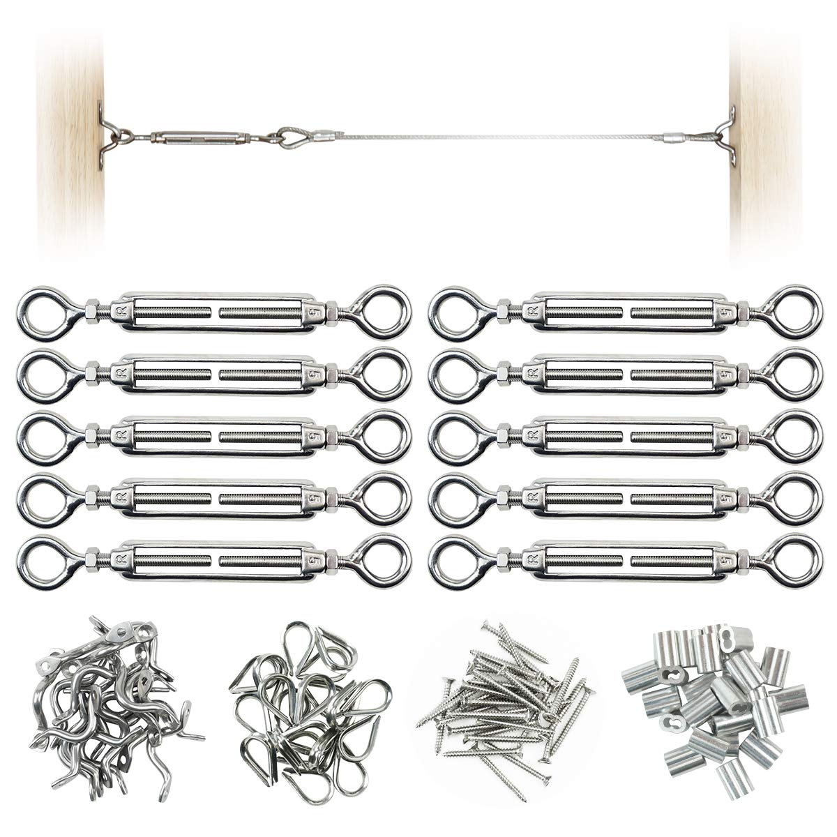 """Muzata 10 Pack Heavy Duty Stainless Steel Cable Railing Kits For 1/8"""" Cable, DIY Balustrade Kit withwith Eye-Eye Turnbuckles, Thimbles (Ferrules), Eye Straps, Swages and Self Tapping Screws"""