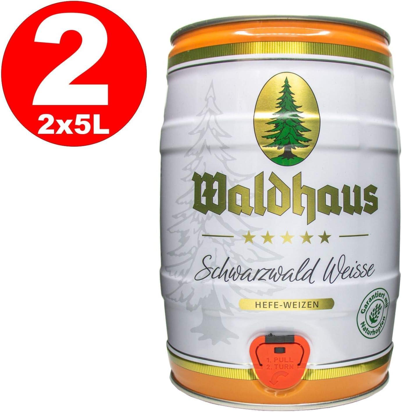 2 x Waldhaus Schwarzwald Weisse Bosque negro White Yeast Wheat 5 L Party Keg 5.6% vol.