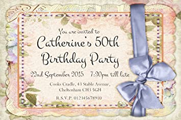 40 personalised party invitations vintage shabby chic birthday 40 personalised party invitations vintage shabby chic birthday invites 21st 30th 40th 50th 60th stopboris