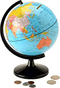 """Hemispheres Save the World 5.6"""" Coin Bank - Teach Kids to Save Money & Learn Places Around the World - Great for Desk or Table Placement"""