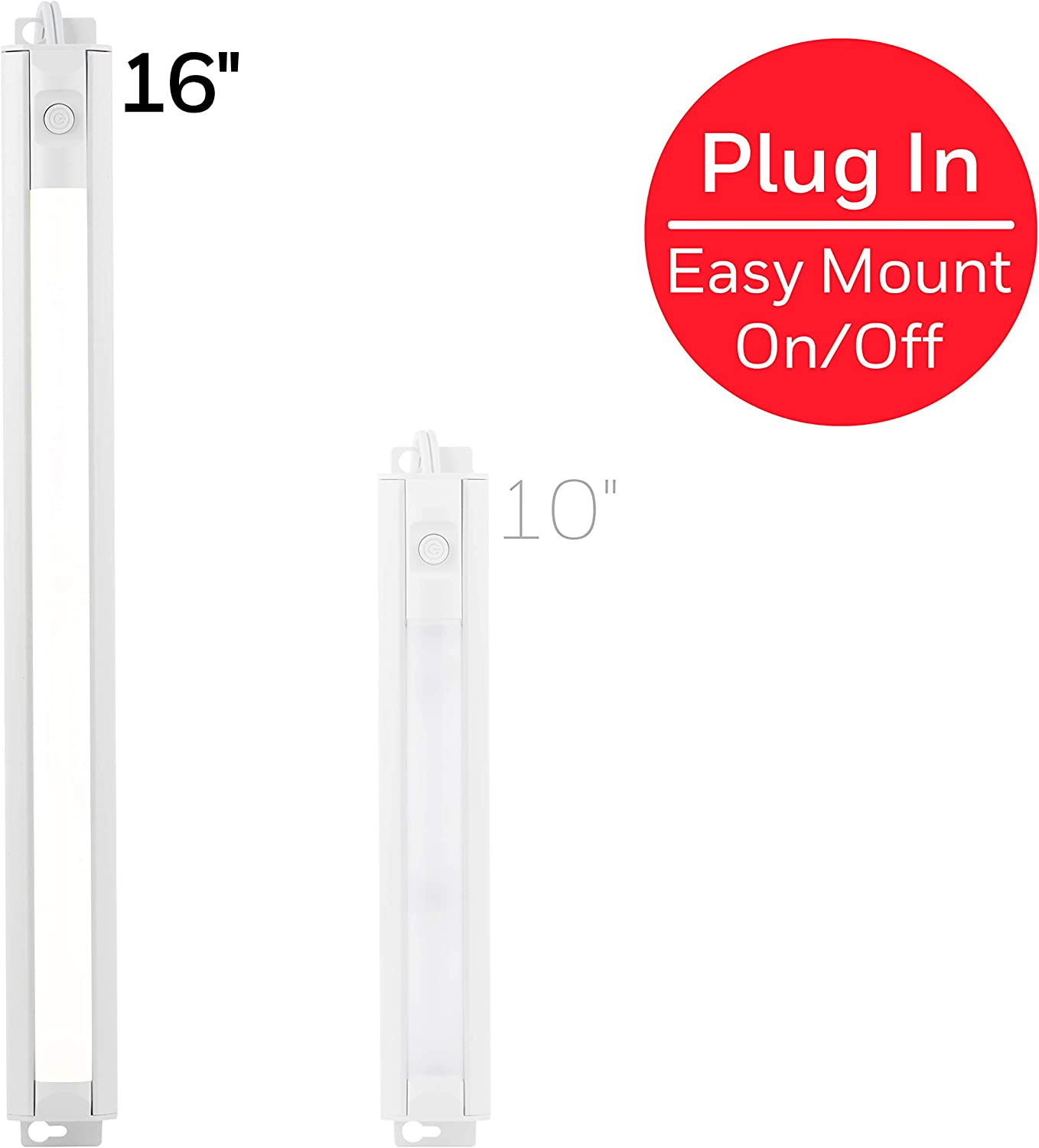 Honeywell 16in. LED Fixture, Bar, Flat Plug, Slim, Switch, Warm Bright, Closet, Cabinet Lighting, 44128, 16 in, White