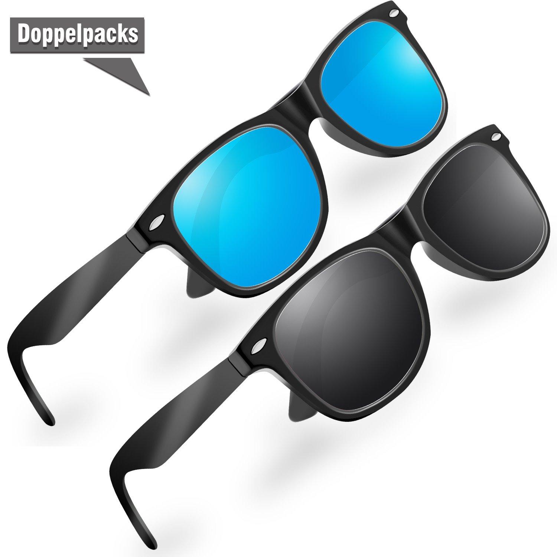 SchwarzBlau BTERDNE Sportbrille Polarisiert Fahrradbrille Sport Sonnenbrille