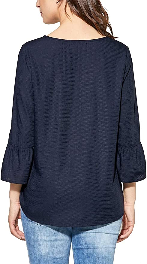 CECIL Einfarbige Bluse mit Volant in Deep Blue