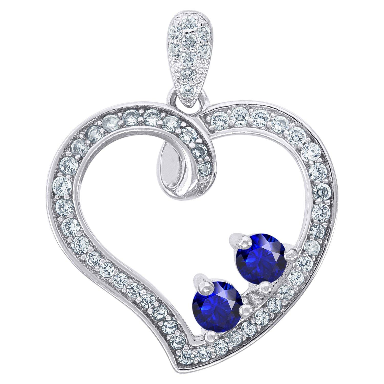 Jawa Jewelers Sterling Silver Womens Cubic Zirconia CZ 2 Two Purple Stone Heart Charm Pendant Women Necklaces
