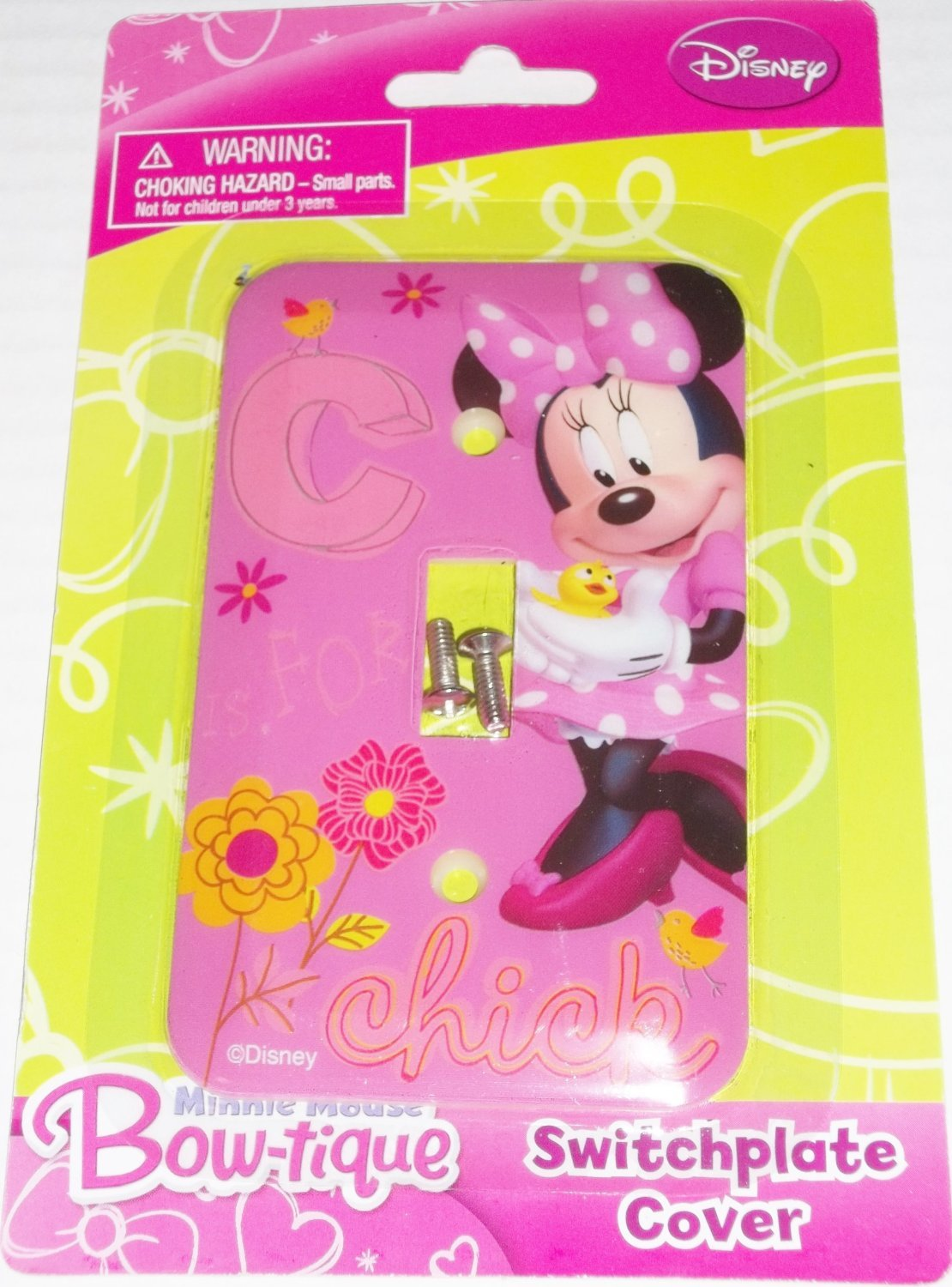 Disney Minnie Mouse Bow-tique Switchplate Cover - Baby Nursery Kids Bedroom Light Switch Wall Decor Tri-Coastal 37936