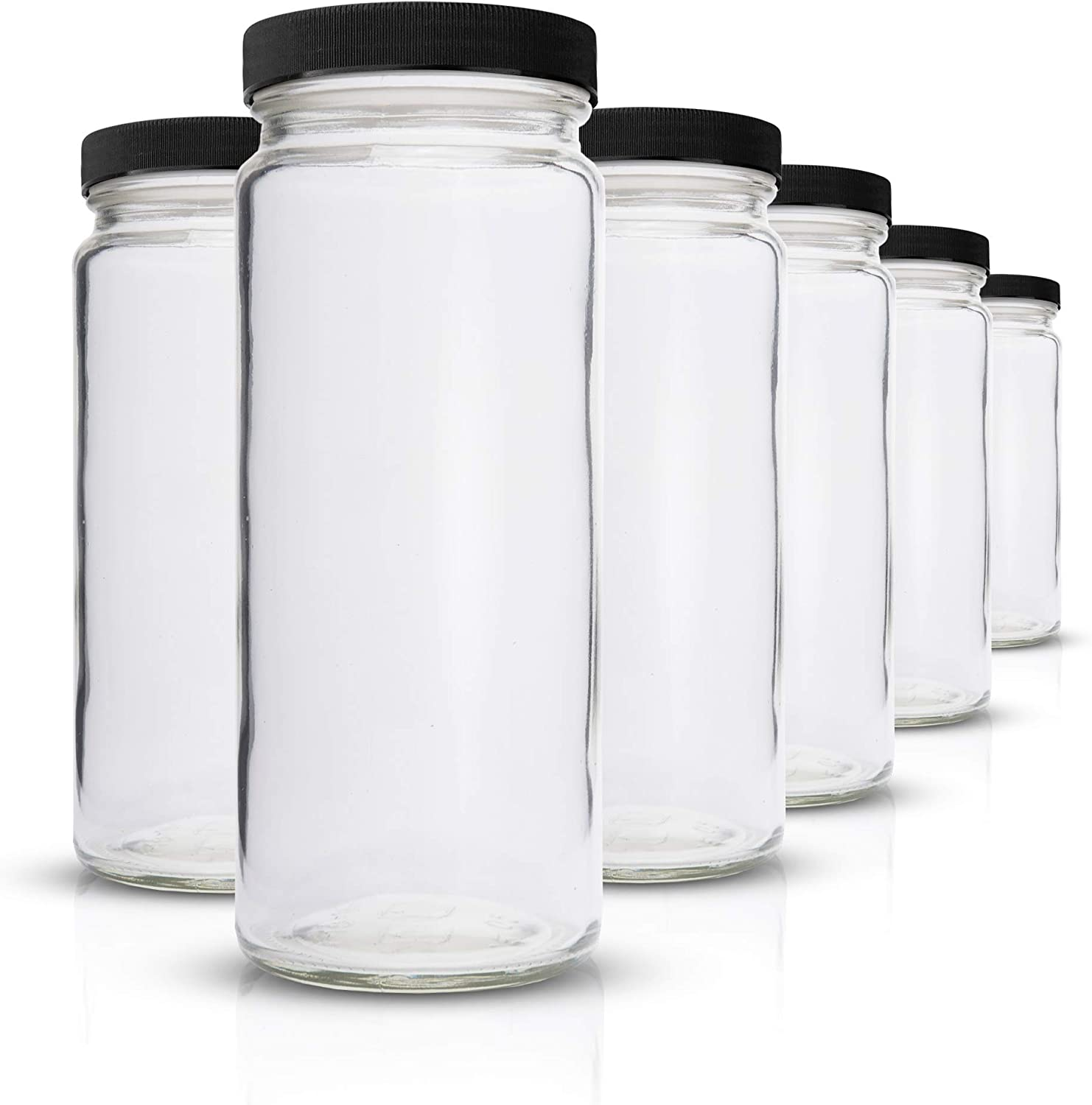 Glass Water Bottles Set - 6 Pack Wide Mouth with Lids for Juice, Smoothies, Beverage Storage - 16 oz, Durable, Eco Friendly & BPA Free - Reusable, Dishwasher Safe, Leak Proof, Clear, Black Caps