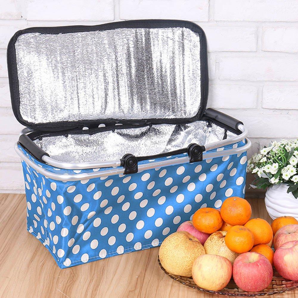 31 L, Azul Bolsa T/érmica para Comidas Almuerzo Fiambrera Isotermica Porta Alimentos Nevera de Botella Gosear Plegable Cesta de Picnic Almacenamiento Aislante T/érmica con Mango de Aluminio