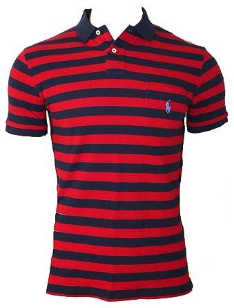 c550802409 Polo Ralph Lauren Mens XL Navy Red Striped Short Sleeve Pique Pocket Top Tee  T-Shirt D98 (Medium): Amazon.co.uk: Clothing