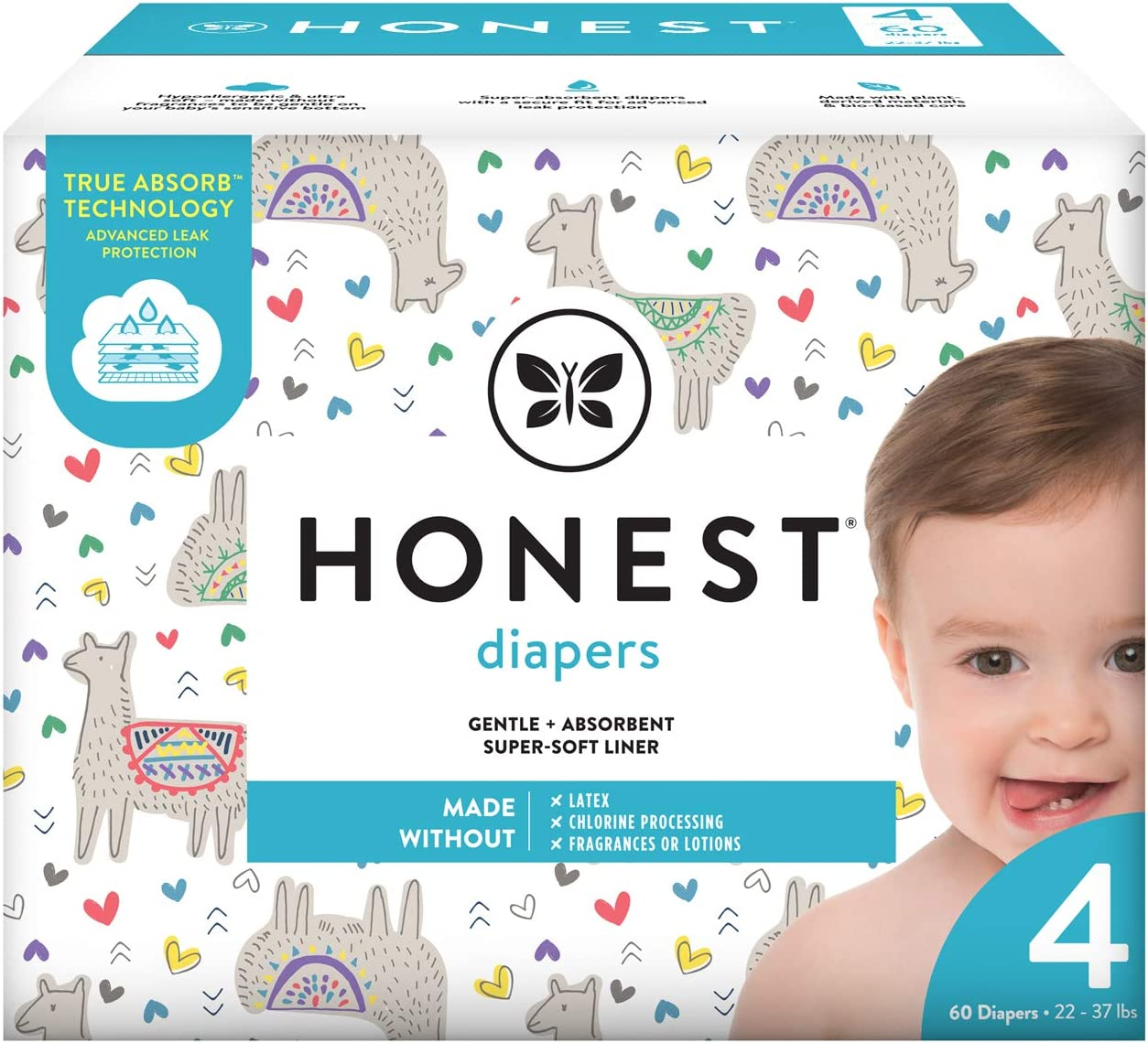 The Honest Company Baby Diapers with True Absorb Technology, All The Alpacas, Size 4, 60 Count