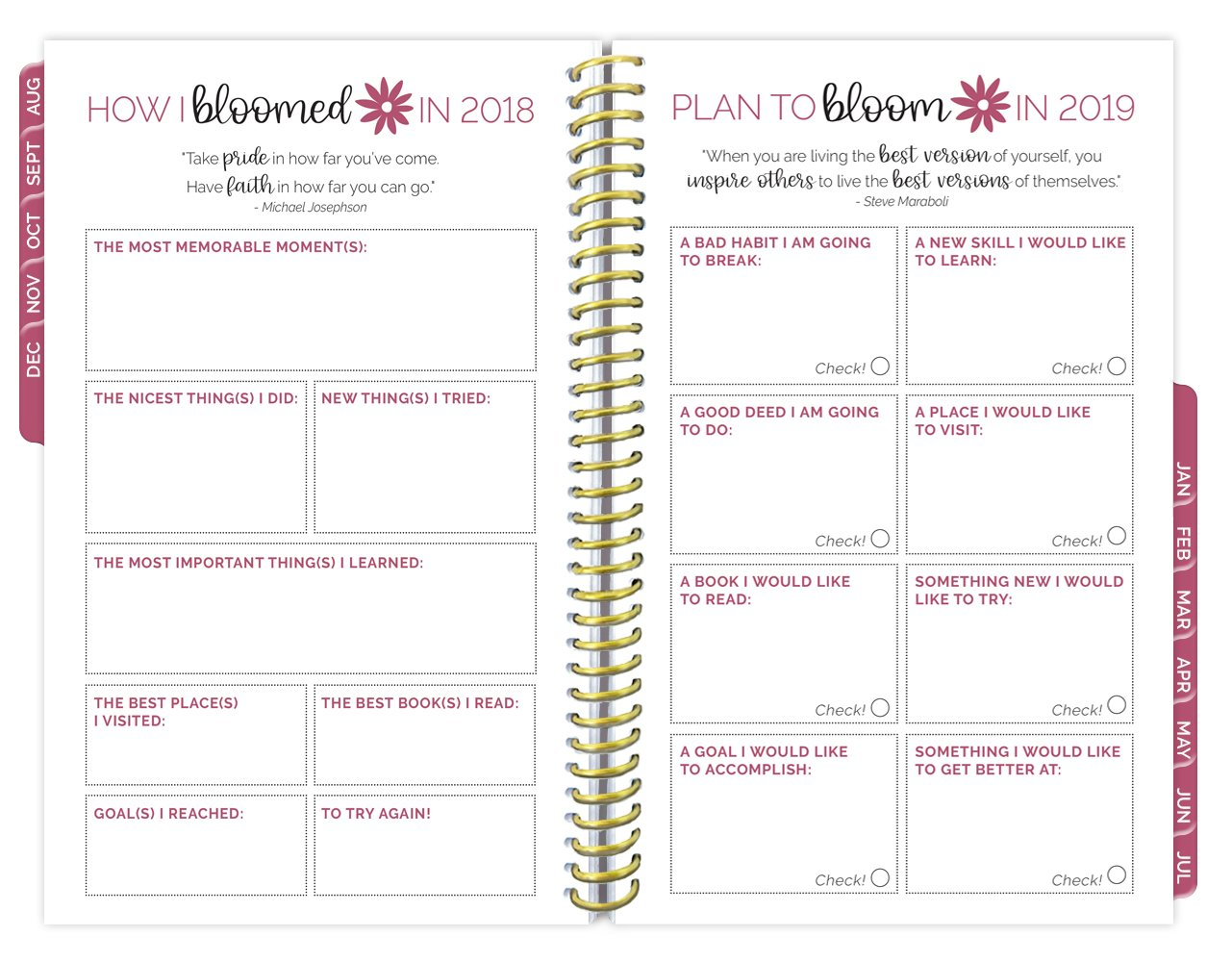 bloom daily planners 2018-2019 Academic Year Day Planner - Monthly and Weekly Calendar Book - Inspirational Dated Agenda Organizer - (August 2018 - July 2019) - 6'' x 8.25'' - Marble by bloom daily planners (Image #8)