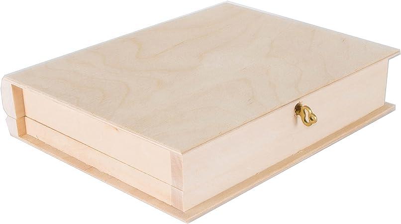 SearchBox Tamaño Mediano de Madera con Forma de Libro con Cerradura Caja joyero con Llave/sin pintar/Craft/21 x 17 x 4,5 cm: Amazon.es: Hogar
