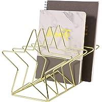 Simmer Stone Magazine Holder File Sorter, Metal 5 Slot Desk Organizer Rack for Document, Folder, Letter and Book, Gold…