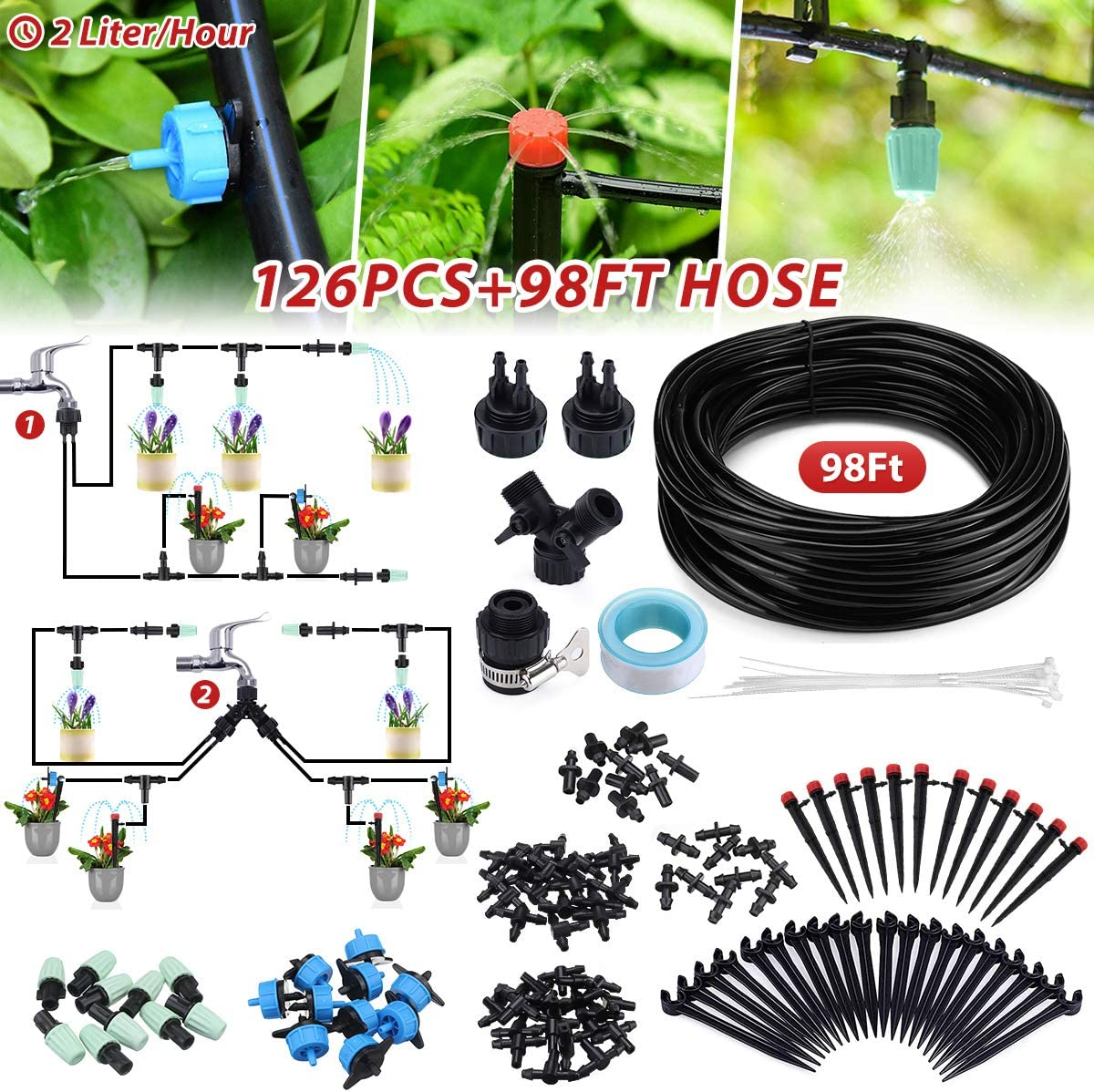Jeteven 98Ft/30m Drip Irrigation Hydroponics Supplies System Drippers Kit Tubing Accessories DIY Saving Water Automatic Irrigation Equipment Set for Garden Greenhouse, Flower Bed, Patio, Lawn : Garden & Outdoor