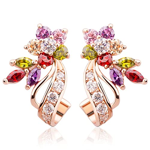 3173398758af5 BAMOER Rose Gold Plated Flower Design Multicolor Cubic Zirconia Stud  Earrings for Women Girls CZ Jewelry