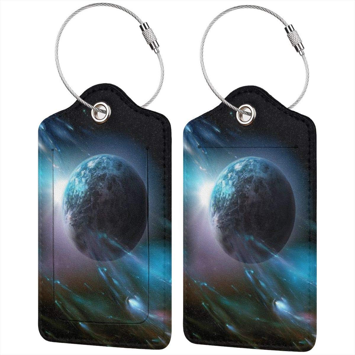 Luggage Tag Label Travel Bag Label With Privacy Cover Luggage Tag Leather Personalized Suitcase Tag Travel Accessories Outer Space Galaxy Universe 4