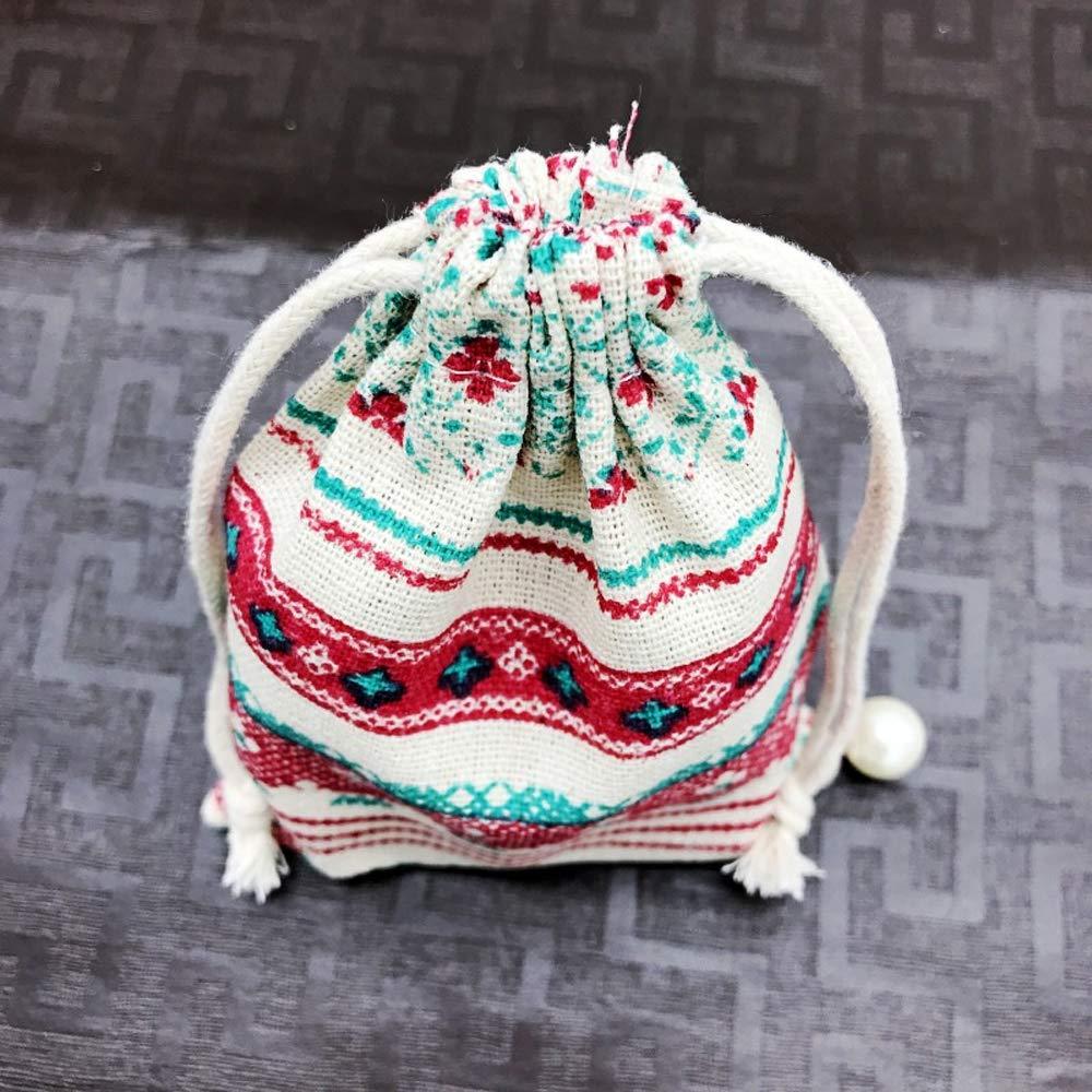 50Pcs Style ethnique Pochette /à Bijoux en Jute Sac Cadeau /à Cordon Coulissant Faveur Pochettes De Mariage Partie De F/ête Cadeau Sacs Pochette en Tissu en Lin Organiseur