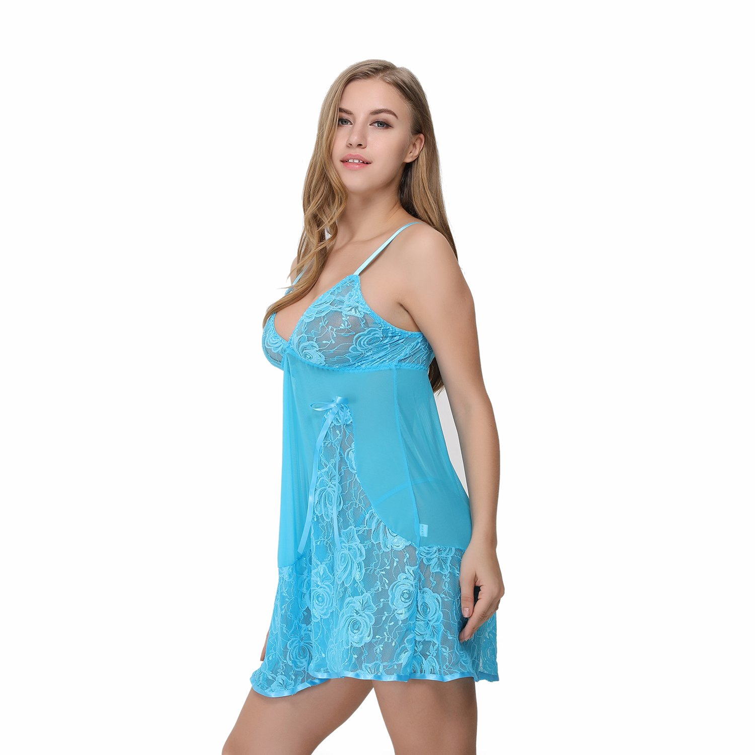 Advoult Women Babydolls Sexy Lingerie Nighty Lace Sleepwear Mesh Chemise Outfits by Advoult (Image #3)