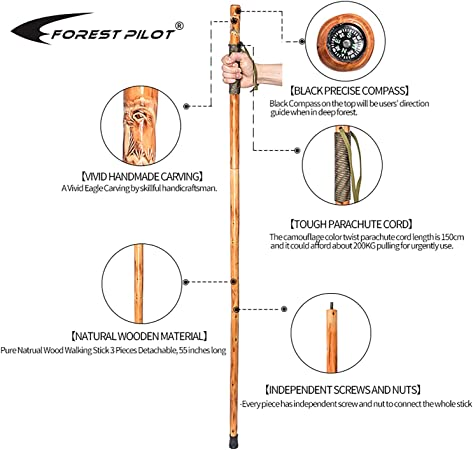Forest Pilot 3 Piece Walking Stick Big Wooden Head with a Compass and a Thermometer Nature Color, 48 Inches, 1 Piece