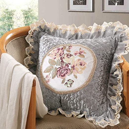LIJIAYANG Tela Textil cojín de Encaje Almohada cojín del ...
