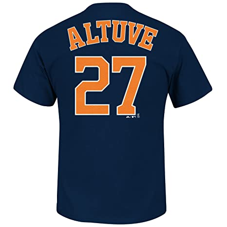 97b7799ed5e Majestic Jose Altuve Houston Astros Navy Jersey Name and Number T-Shirt  Large
